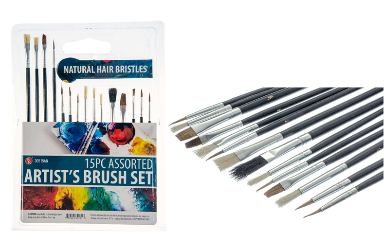 BB1155AB - 15Pc - Artist Brush Set with Natural Bristles, 7