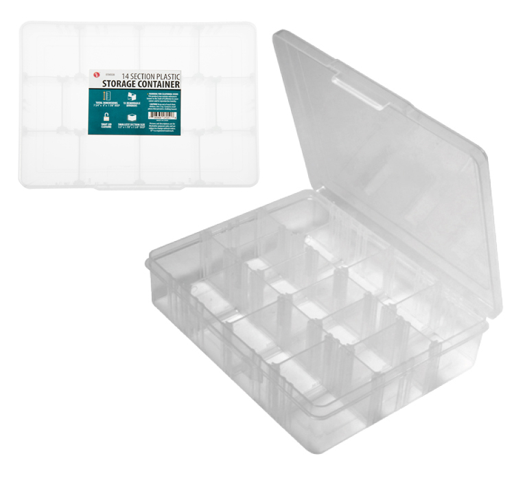 "A1SC - 15-IN-1 Section Plastic Storage Container : Dim: 7-11/16"" x 6-1/8"" x 1-7/8"" ( 87065db ) s"