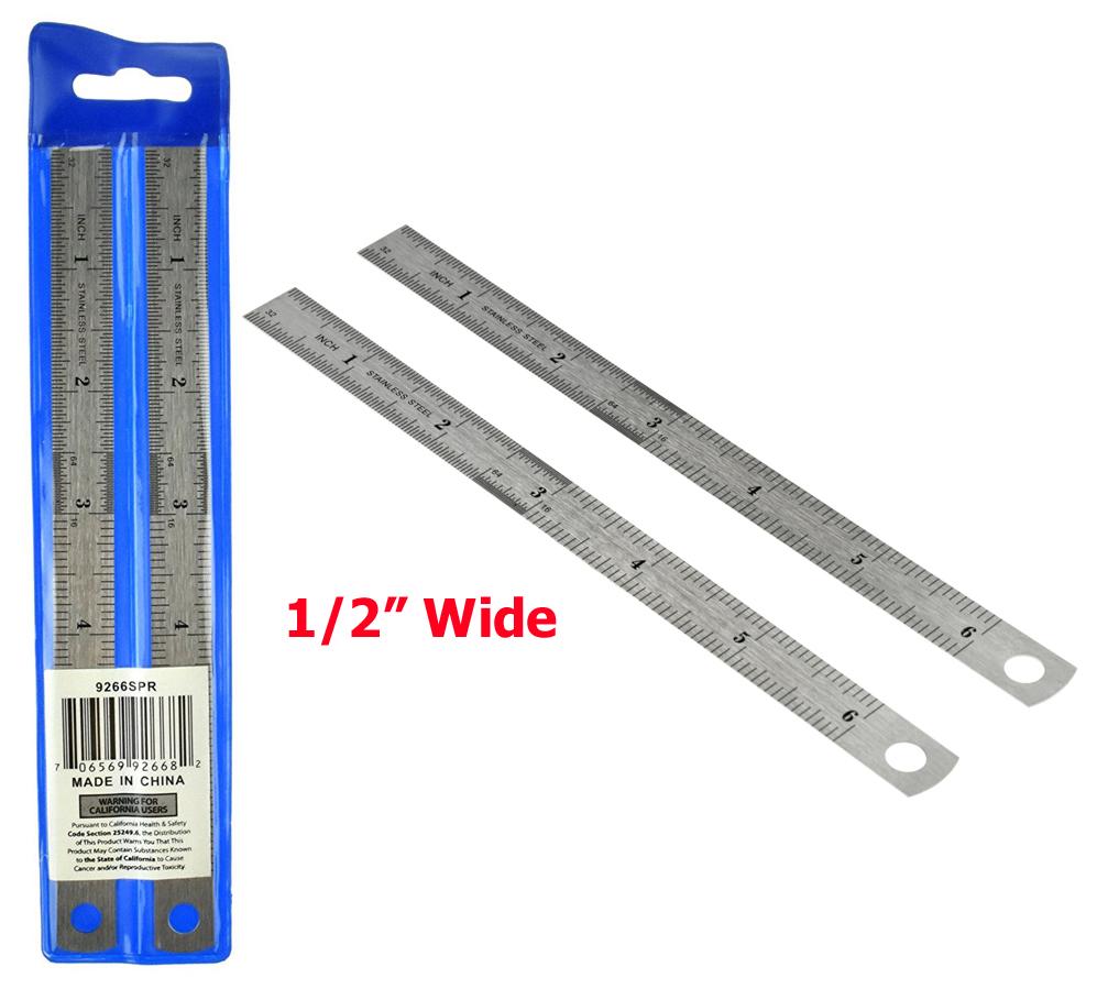 J1000R -  2-PC Metal Rulers 6