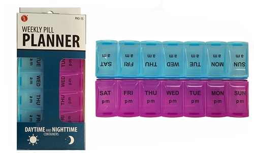 A1PH - Weekly Pill Planner 14 Slot Box,Daytime & Nighttime /AM/PM Containers(3.5
