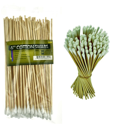 "BB100  100-Pc Quality Birch 6"" Cotton Swabs ( cs100-6 ) s"