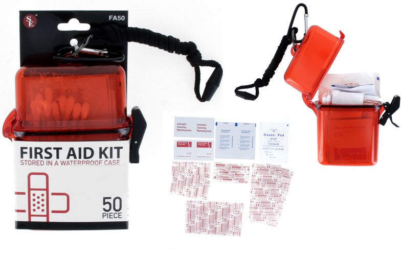 A50FA - 50Pc First Aid Kit Stored in a Waterproof Case W/5mm Carabineer & Lanyard (Red Clear)  ( fa50 ) s