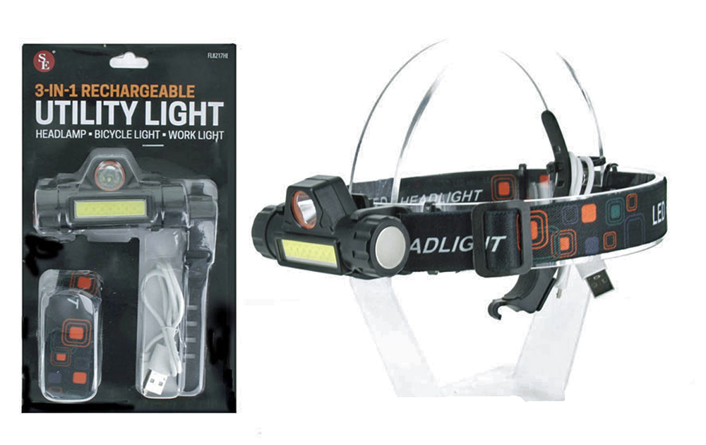 A8FL - 500 Lumen/3-IN-1 Rechargeable Utility Light (HEADLAMP-BICYCLE LIGHT- SUPER WORK LIGHT) ( fl8217hb )