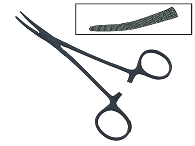 H800BHC -Kelly Hemostat Black Coated 5.5'' Hemostats Curved  5'' ( 129-c 100305-bk ) v z