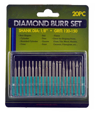 J1114A - 20-PC Mini Diamond Bits 1/8'' ( 82378db ) s