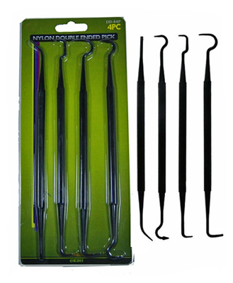 "J7777GCP  - SUPER 4pc Nylon Double Ended Pick Set for Gun Cleaning, Overall Length: 7-1/4""  ( dd-44p ) s"