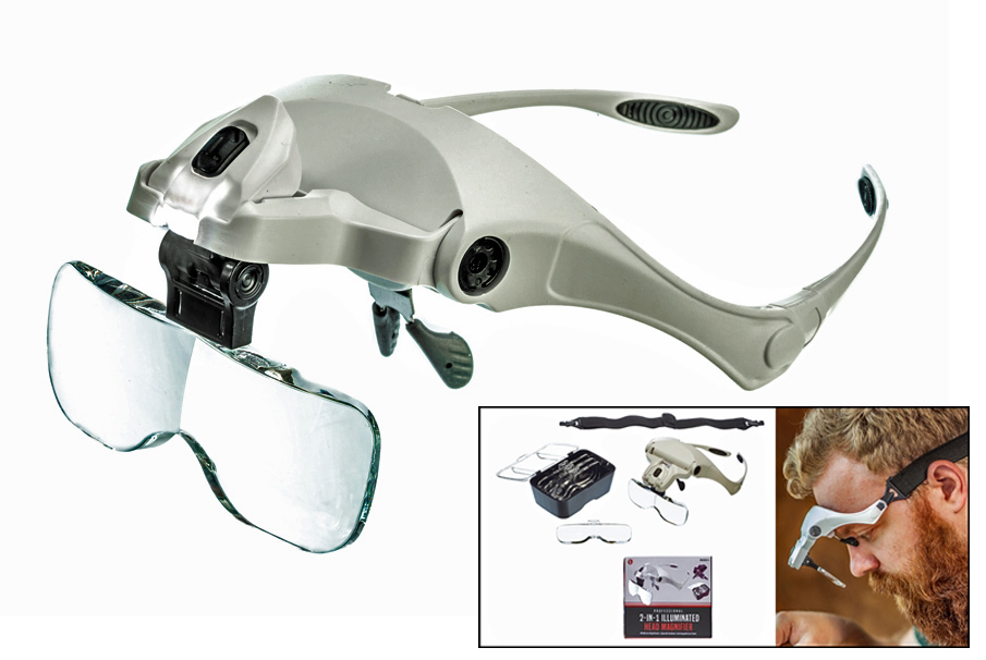 L3075HM - 2-IN-1 Illuminated Head Magnifier W/ Head Strap 5 Lens 1x, 1.5x, 2x, 2.5x, 3.5x ( mh1055lc-5 ) s
