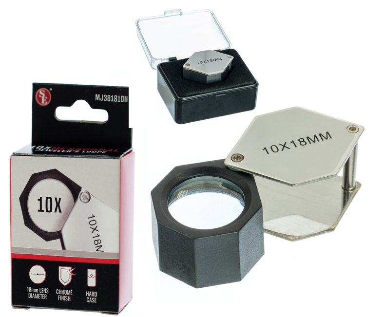 L3418BK - 10x18mm Chrome Hexagonal Body Jewelers Loupe  ( mj381810h ) s