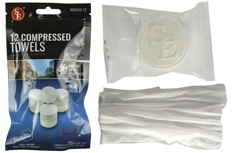 A100T - 12Pc Bag- Compressed Disposable Towels :100% Rayon, Expanded Size : 8-1/2